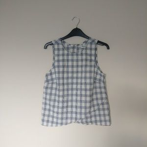 plaid cross front tank